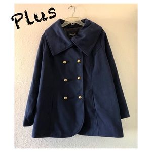Plus Maxwell Studio Navy Double Breasted Pea Coat